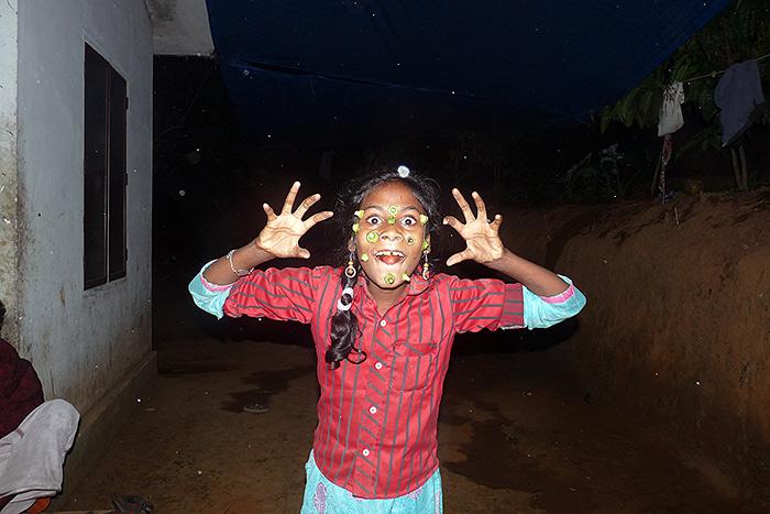 girl making fun in Kerala
