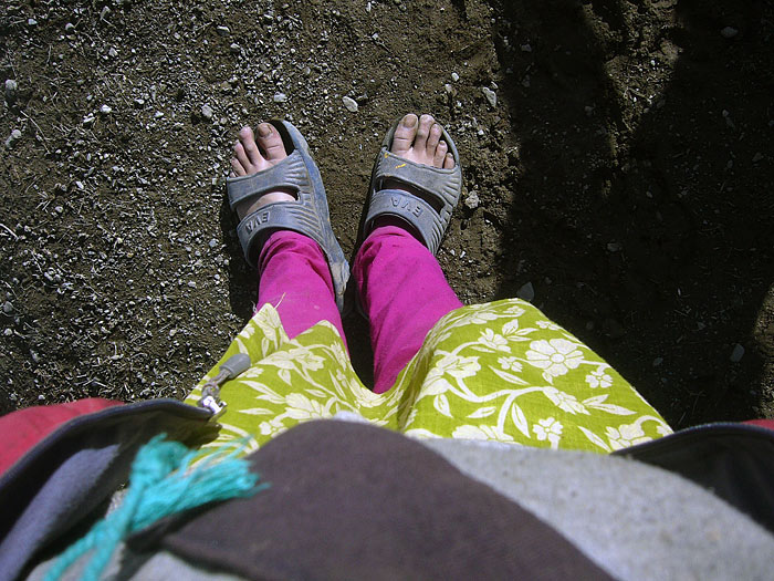 girl's feet in Zanskar
