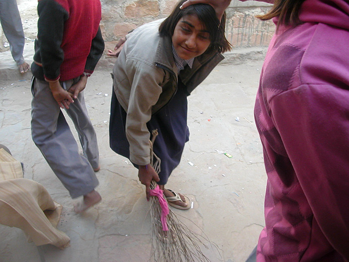 sweeping before school in Rajasthan