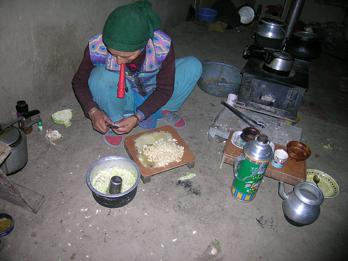 woman cooking in Zanskar