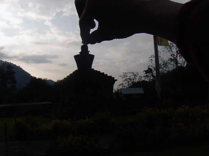 hands over stupa in sikkim