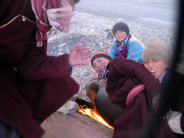 boys doing fire in Zanskar