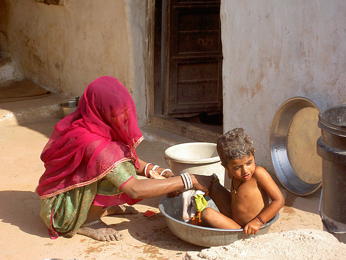 being washed in Rajasthan
