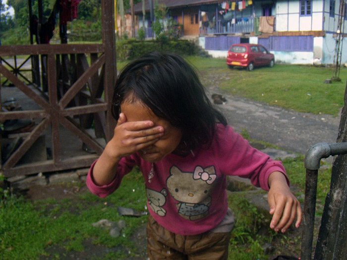 washing face in Sikkim