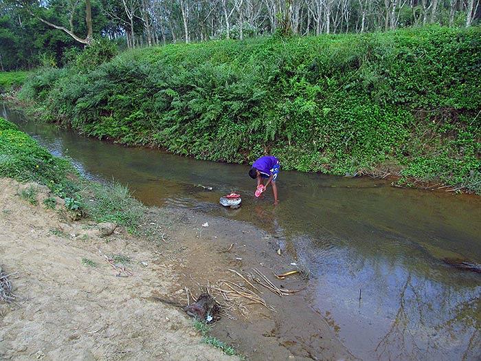 washing in the river in Kerala