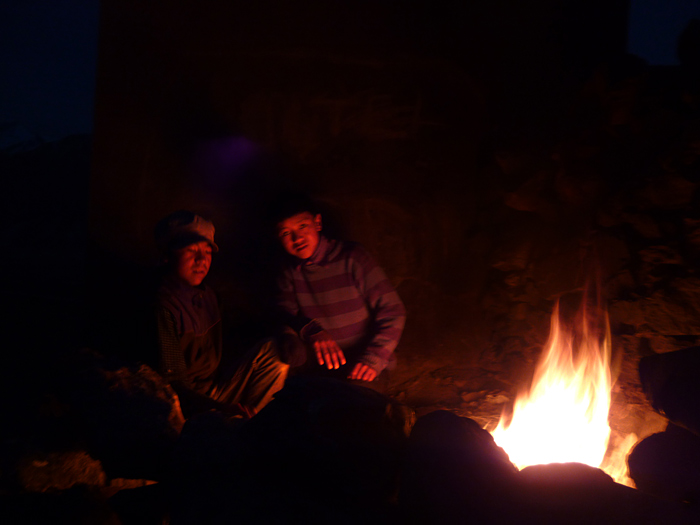 sitting at the fire in Zanskar