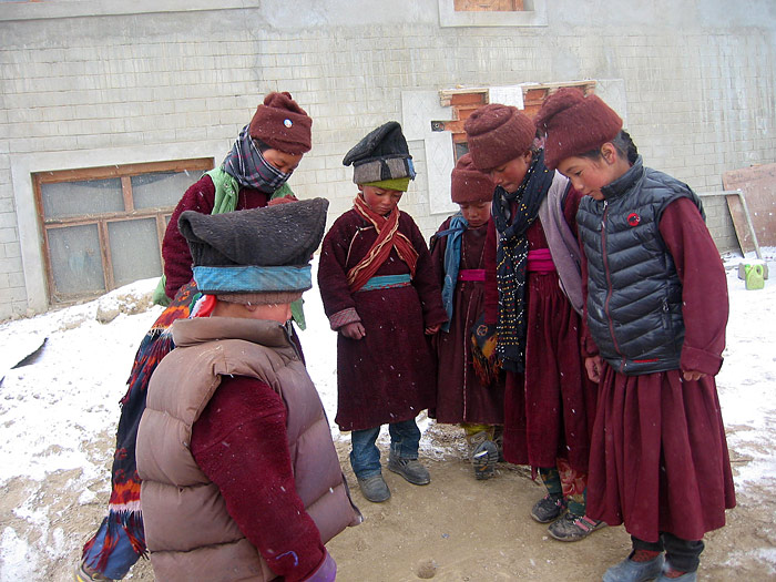 children playing during Losar in Zanskar