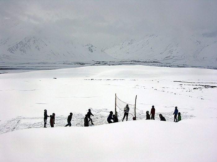 Volleyball in winter in Zanskar