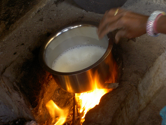 heating milk in Rajasthan