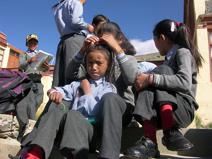 doing hair in Zanskar