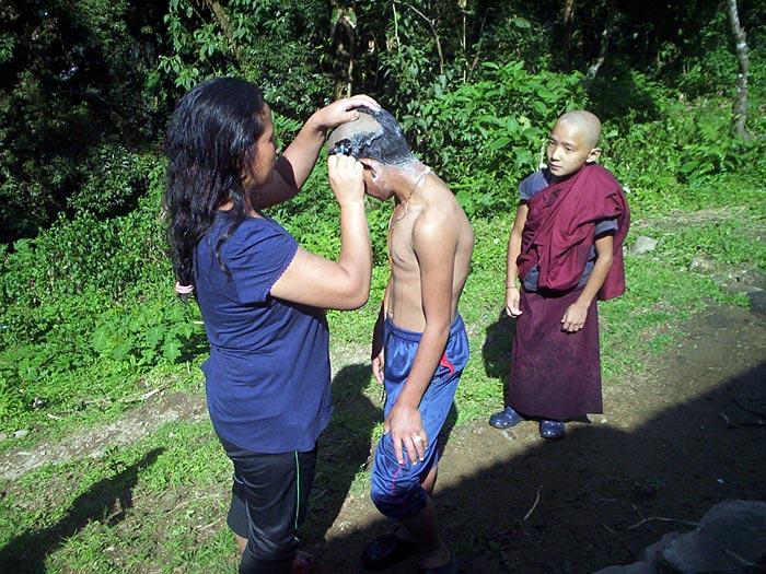 boymonk being shaved in Sikkim