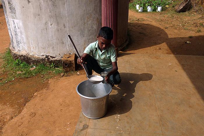 milk in the school in Kerala