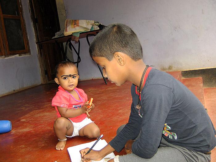 boy studying in Kerala